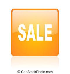 sale orange square glossy web icon