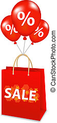 Package With Balloons - Sale Package With Balloons, Isolated...