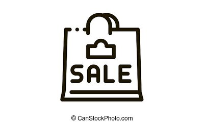 sale paper bag Icon Animation. black sale paper bag animated icon on white background