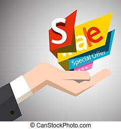 Sale Paper Colorful Labels in Open Human Hand