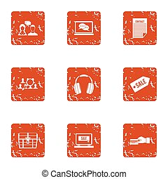 Sale paper icons set, grunge style