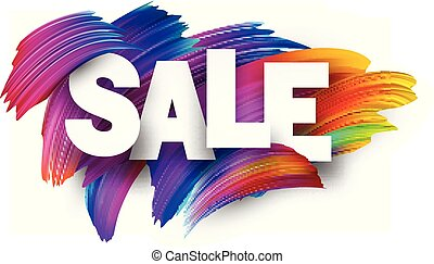Sale paper poster with colorful brush strokes.