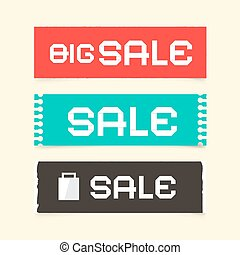 Sale Paper Retro Vector Labels Set