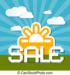 Sale Paper Title on Landscape Background with Sun and Clouds