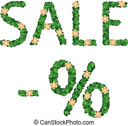 Sale Percent Letters Made of Green Leaves and Flowers