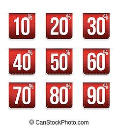Percent off set ribbon red