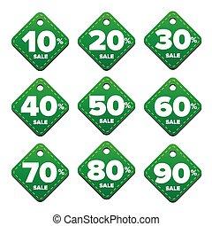 Sale percent pricetag green vector