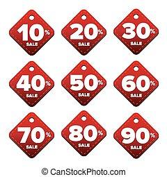 Sale percent pricetag red vector