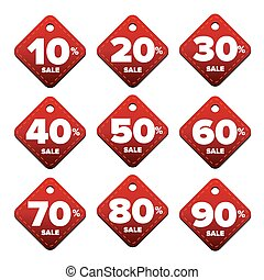 Sale percent pricetag red vector