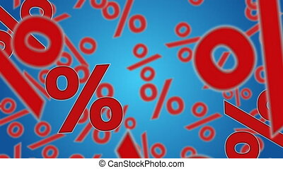 Sale - Percent sign falling down. Discount and sale concept