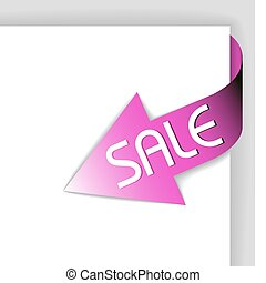 corner ribbon - arrow pointing at the item in sale