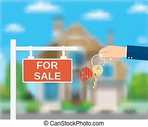 Sale placard sign. Hand of agent with keys.
