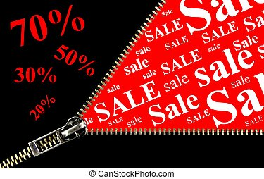 Sale placard with zipper opening concept on red background