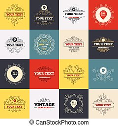Vintage frames, labels. Sale pointer tag icons. Discount special offer symbols. 30%, 50%, 70% and 90% percent sale signs. Scroll elements. Vector