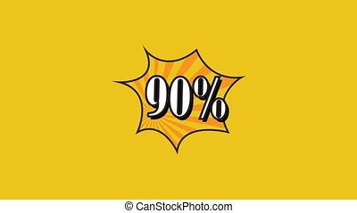 Sale pop art animation. 90 percent. Rotation rays