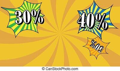 Sale pop art animation Rotation rays