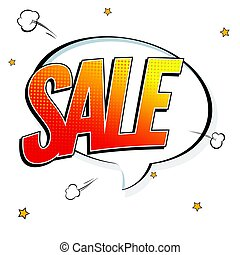 Sale pop art splash background, explosion in comics book style. Advertising signboard, price reduction, sale with halftone dots, cloud beams on white backdrop. Vector template for ad, covers, posters