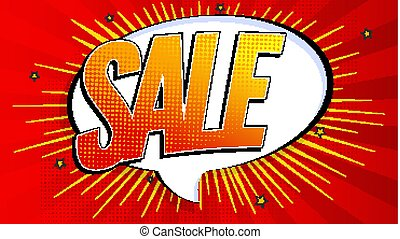 Sale pop art splash background, explosion in comics book style. Advertising signboard, price reduction, sale with halftone dots, cloud beams light on red backdrop. Vector for ad, covers, posters