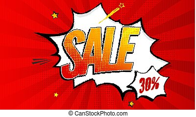 Sale pop art splash background, explosion in comics book style. Advertising signboard, price reduction, sale with halftone dots, clouds beams on red backdrop. Vector template for ad, covers, posters
