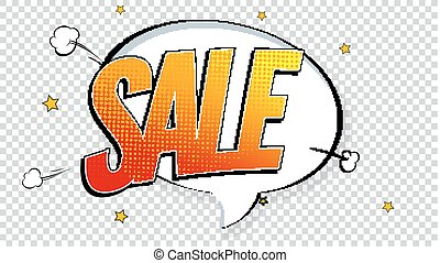 Sale pop art splash background, explosion in comics book style. Advertising signboard, price reduction with halftone dots, cloud beams on transparent backdrop. Vector template for ad, covers, posters