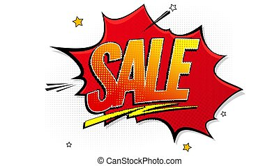 Sale pop art splash background, explosion in comics book style. Advertising signboard, price reduction, sale with halftone dots, clouds beams on white backdrop. Vector template for ad, covers, posters