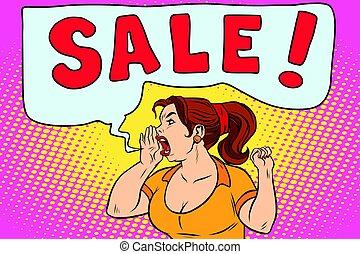 sale pop art woman screaming