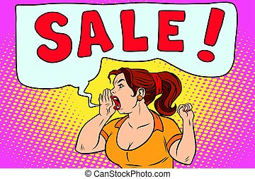 sale pop art woman screaming. Comic cartoon style illustration