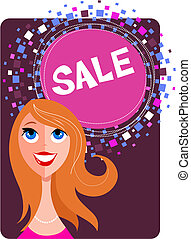 Sale poster with a pretty girl