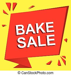Sale poster with BAKE SALE text. Advertising vector banner...
