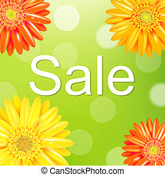 Sale Poster With Gerber, With Gradient Mesh, Vector...