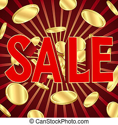 Sale poster with gold coins