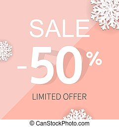Sale Poster With Percent And Snowflake
