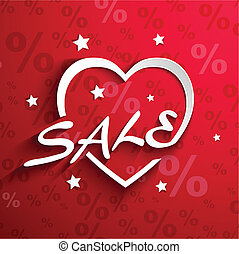 Sale  poster.Paper heart shape with word SALE ,stars ,shadow effect and percent discount background