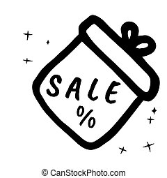 Sale, price icon. Single sign isolated on white background. Vector hand drawn design illustration