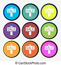 Sale, price tag icon sign. Nine multi colored round buttons. Vector
