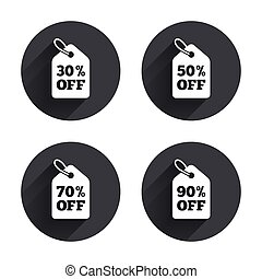 Sale price tag icons. Discount special offer symbols. 30%, 50%, 70% and 90% percent off signs. Circles buttons with long flat shadow. Vector