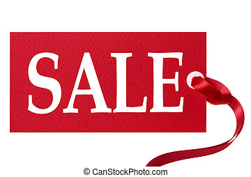 Sale price tag with red ribbon isolated on white.