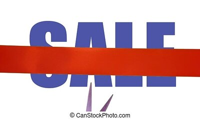 Sale promotion event - Cutting red ribbon on sale event...