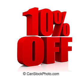 Sale promotion text 10 percent off - 3D rendering of a 10 ...