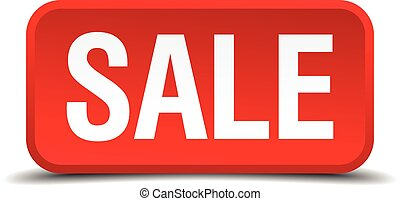 Sale red 3d square button isolated on white