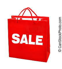 Sale red bag - Red paper bag with sale text isolated with ...