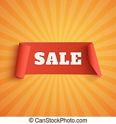 Sale, red banner on orange background.