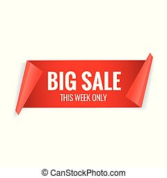 Sale red banner. Realistic paper ribbon