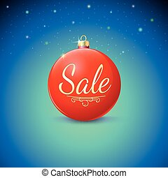 Sale, red Christmas ball over starry background.