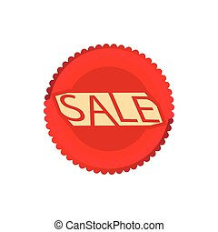 Sale red circle icon, cartoon style