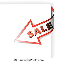 Sale red corner ribbon - arrow pointing at the item