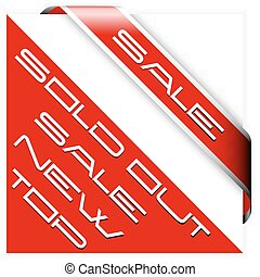 Sale red corner ribbon