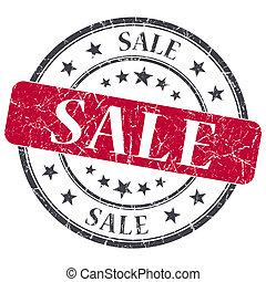 Sale red grunge round stamp on white background