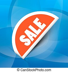 Sale Red Label on Blue Background Vector