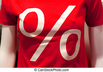 Sale - Red shirt with a big percent sign announcing a sale.